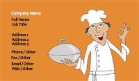 Orange Chef Illustration Business Card Template